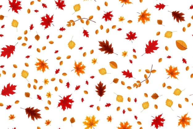 Herfst naadloze patroon achtergrond met vallende bladeren. vectorillustratie eps10