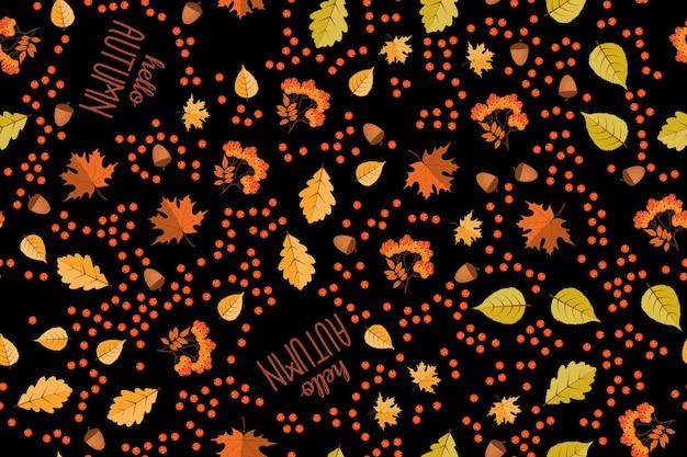 Herfst naadloze patroon achtergrond met vallende bladeren. vectorillustratie