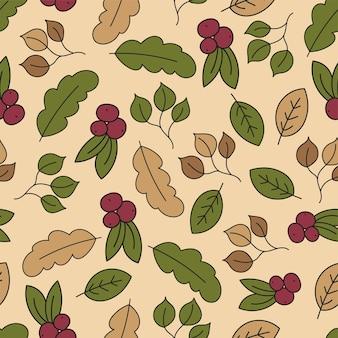 Herfst naadloze patroon met blad, herfstblad achtergrond. abstracte blad textuur. leuke achtergrond. blad val. kleurrijke bladeren