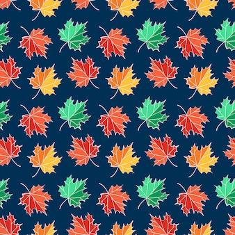 Herfst naadloze patroon met esdoorn bladeren.