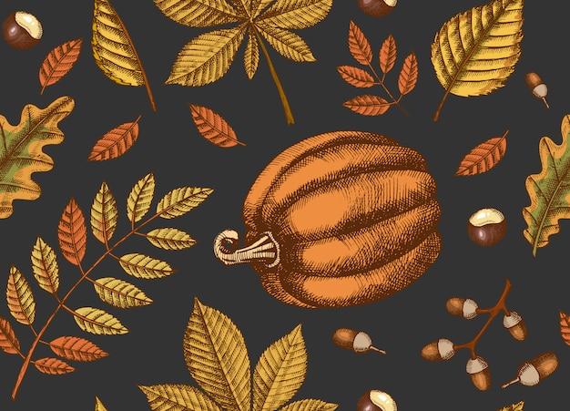 Herfst naadloze patroon met hand getrokken bladeren en pompoenen. bladeren van esdoorn, berk, kastanje, eikel, essenboom, eik. schetsen. voor behang