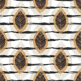 Herfst naadloze patroon met moderne bladeren op strepen textuur