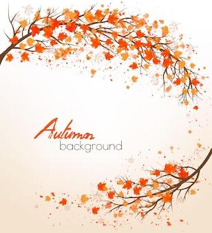 Herfst natuur achtergrond met een boom en kleurrijke bladeren. vector