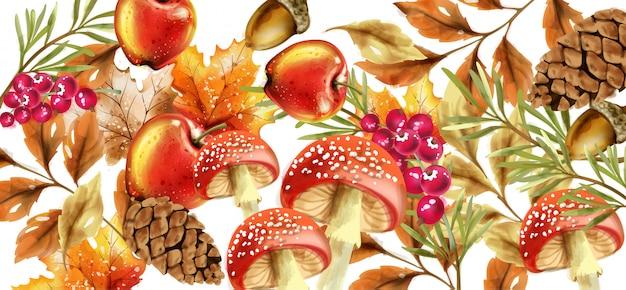 Herfst oogst patroon. herfstpaddenstoelen en fruitdecoratieaffiches