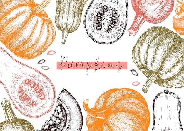 Herfst oogstfeest. traditionele thanksgiving day bovenaanzicht. herfst seizoen achtergrond met hand getrokken planten, fruit, groenten, paddestoelen illustratie. traditionele voedselingrediënten