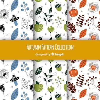 Herfst patronen collectie met elementen gratis vector