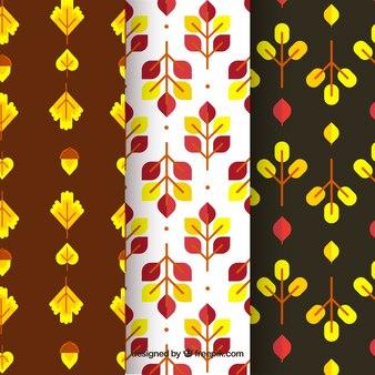 Herfst patronen collectie met geometrische elementen gratis vector