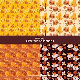 Herfst patroon collectie vlakke stijl