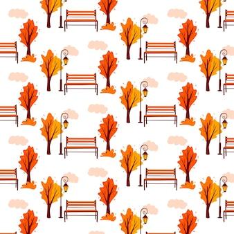 Herfst patroon. herfst landschap. achtergrond. stadspark. parkbank, lantaarn. cartoon-stijl. vectorillustratie voor ontwerp en decoratie.