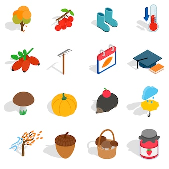 Herfst pictogrammen in isometrische 3d-stijl. oktober vastgestelde inzamelings vectorillustratie