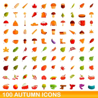 Herfst pictogrammen instellen. cartoon illustratie van herfst pictogrammen instellen op witte achtergrond