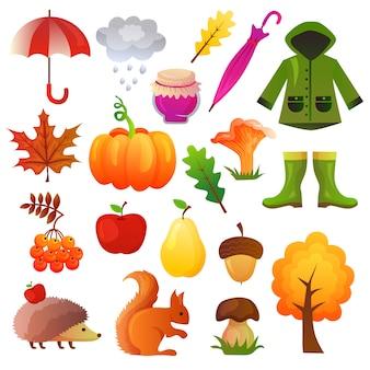 Herfst pictogrammen instellen collectie