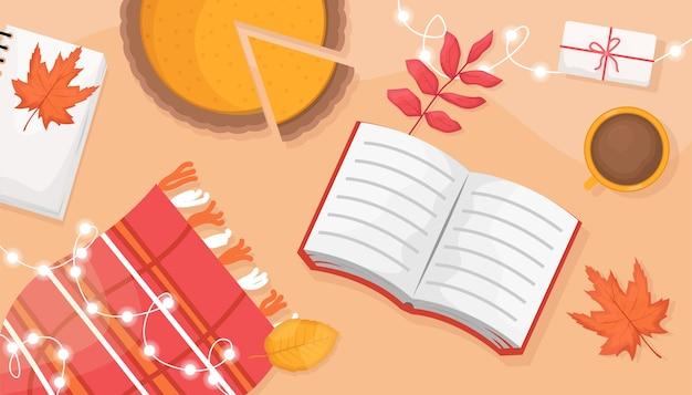 Herfst plat lag met het boek