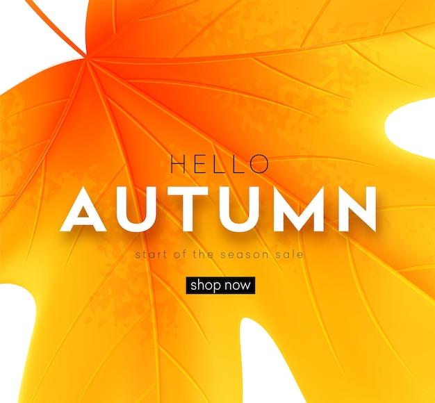 Herfst poster met belettering en gele herfst esdoorn bladeren. vectorillustratie eps10