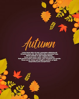 Herfst poster met bladeren en bloemen elementen.