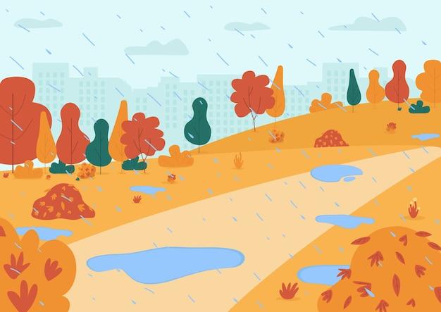 Herfst regen in park semi vlakke afbeelding. stadstuin met plassen voor gezinsactiviteiten. stadscentrum met zware regenval. fall seizoensgebonden 2d-cartoonlandschap voor commercieel gebruik