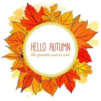 Herfst ronde frame met hand getrokken gouden bladeren. hallo herfstbanner. vector herfstontwerp voor advertenties, wenskaarten en sociale media-inhoud.