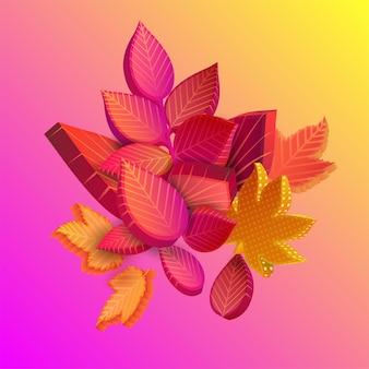 Herfst roze en gele spectrumachtergrond met mooi boeket bladeren