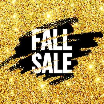 Herfst sale promo label. gouden glitter sjabloon voor spandoek, poster, certificaat. herfst goud glinsterende. vectorillustratie eps10