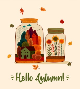 Herfst schattig illustratie. voor kaart, poster, flyer