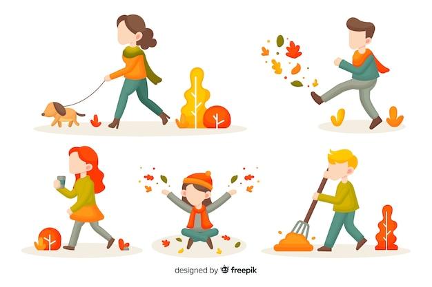 Herfst seizoen activiteiten illustratie