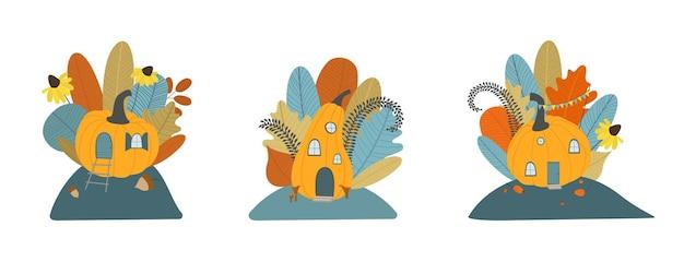Herfst set schattig pompoen huis met bladeren bloemen herfst boeket herfst clipart platte vector art