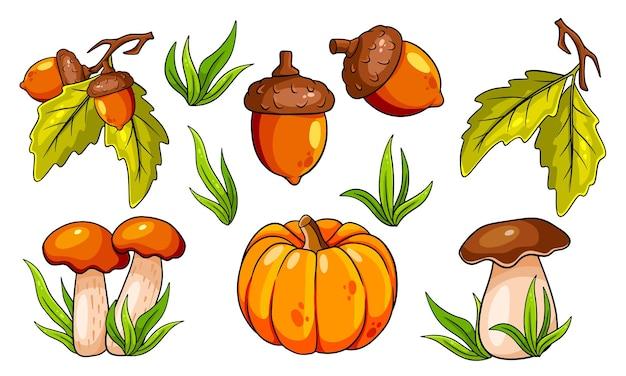 Herfst setje. collectie herfst items. paddestoelen, pompoen, eikels, gras, eikenbladeren. cartoon-stijl. vectorillustratie voor ontwerp en decoratie.