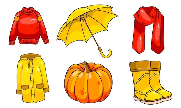 Herfst setje. collectie herfst items. pompoen, sjaal, regenjas, trui, rubberen laarzen, paraplu. cartoon-stijl. vectorillustratie voor ontwerp en decoratie.