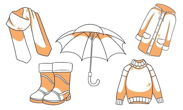 Herfst setje. collectie herfst items. sjaal, regenjas, trui, rubberen laarzen, paraplu. lijn stijl. vectorillustratie voor ontwerp en decoratie.