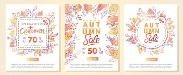 Herfst speciale aanbieding banners met herfstbladeren in herfstkleuren. verkoop seizoen