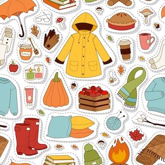 Herfst stickers naadloze patroon.