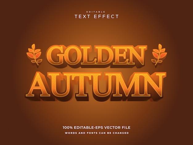 Herfst teksteffect sjabloon met 3d-stijl