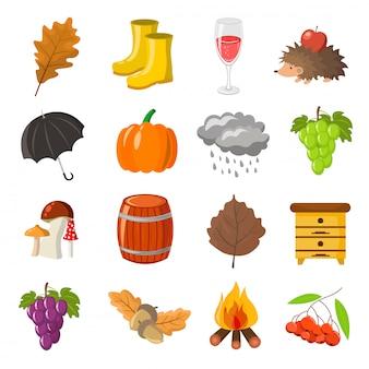Herfst, terug naar school pictogrammen instellen.