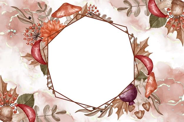 Herfst thema aquarel frame achtergrond bloem, bladeren en paddestoel met witte ruimte
