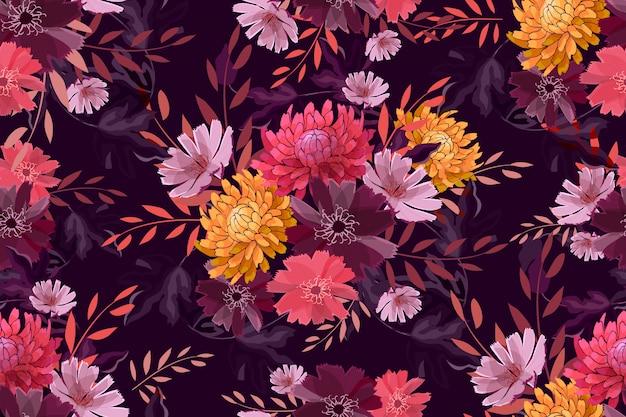 Herfst tuin naadloze bloemenpatroon op diep paars