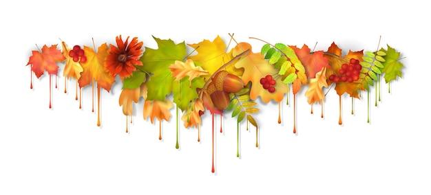 Herfst vector druipende verfbladeren
