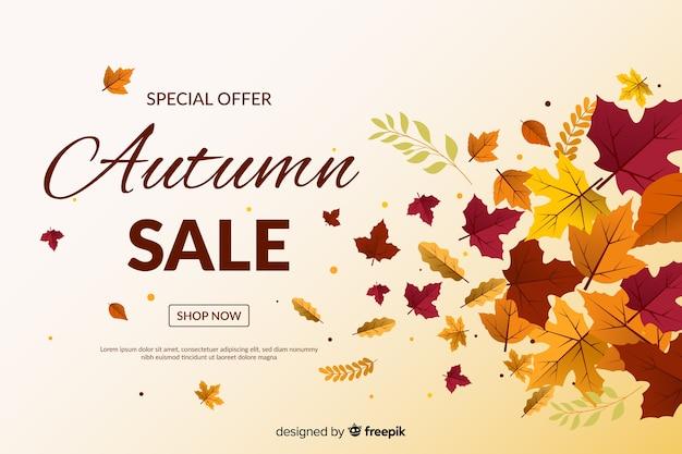 Herfst verkoop achtergrond in vlakke stijl