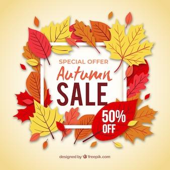 Herfst verkoop achtergrond met bladeren