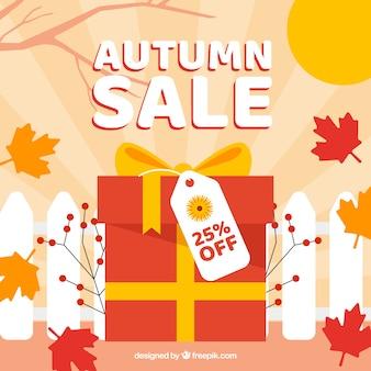 Herfst verkoop achtergrond met geschenkdoos