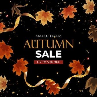 Herfst verkoop achtergrond met vallende bladeren. kan worden gebruikt als verhaalpost in sociaal netwerk. vectorillustratie eps10