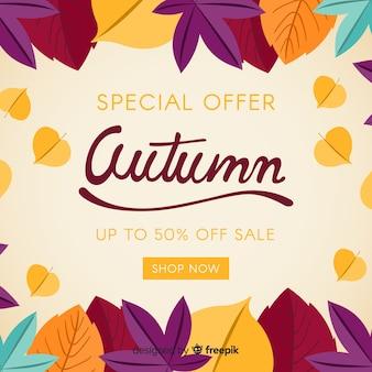 Herfst verkoop achtergrond platte ontwerp