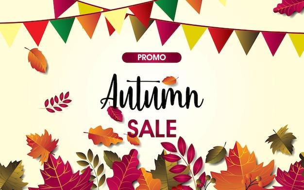 Herfst verkoop achtergrond vector met bladeren. te koop, poster, folder of webbanne