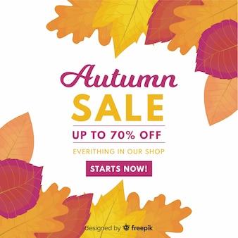 Herfst verkoop achtergrond vlakke stijl