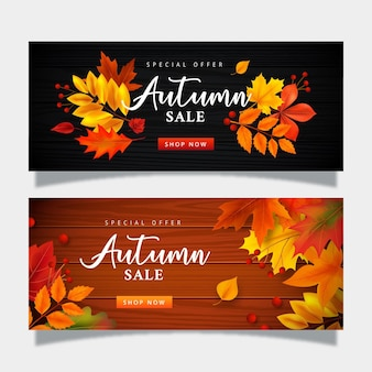 Herfst verkoop banner collectie sjabloon Gratis Vector