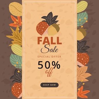Herfst verkoop banner met bladeren achtergrond
