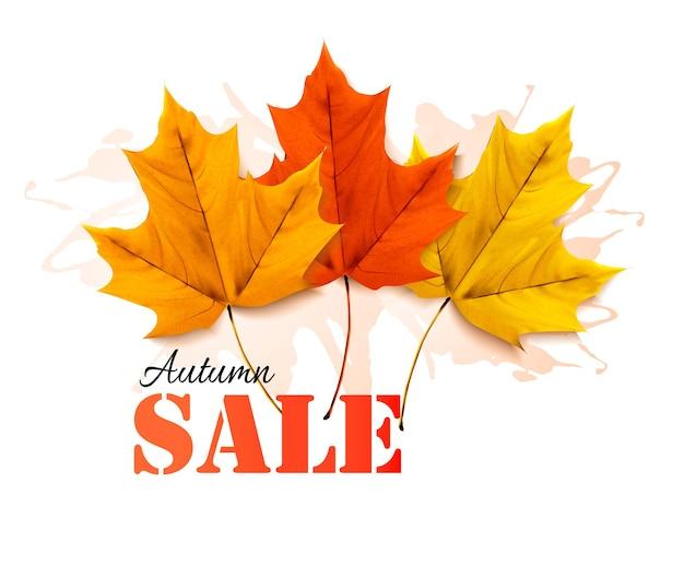 Herfst verkoop banner met kleurrijke bladeren.