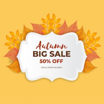 Herfst verkoop banner met oranje en roze bladeren