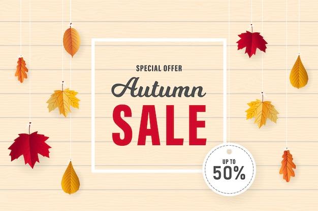 Herfst verkoop banner ontwerp met gedroogde bladeren