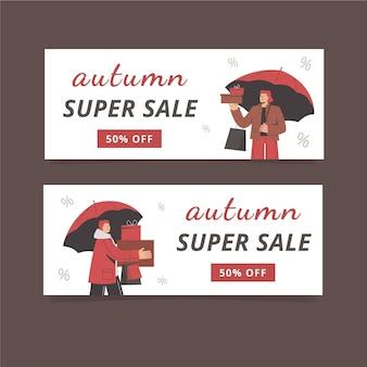 Herfst verkoop banner ontwerpset