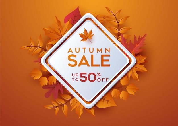 Herfst verkoop banner vierkante lay-out versieren met bladeren